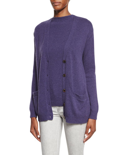 Button-Front V-Neck Cardigan, Purple