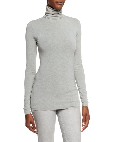 Callie Turtleneck Top, Medium Gray