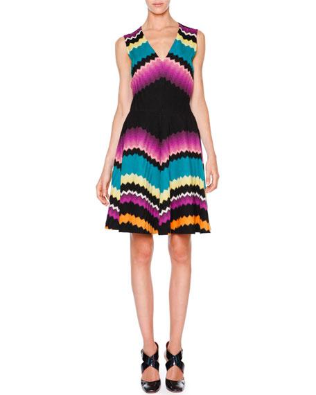Missoni Sleeveless Fit-&-Flare Zigzag Dress, Black/Multi Colors