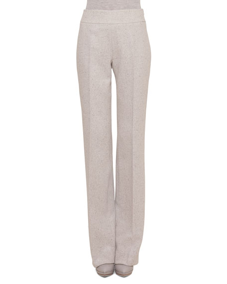 Akris Carla Tweed Wide-Leg Pants, Gravel