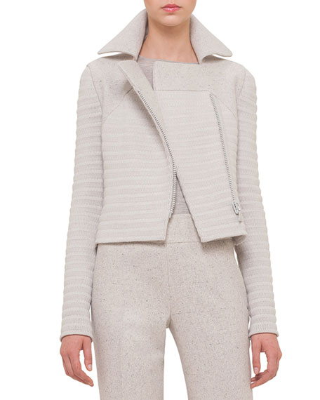 Akris Long-Sleeve Ribbed Moto Jacket, Gravel