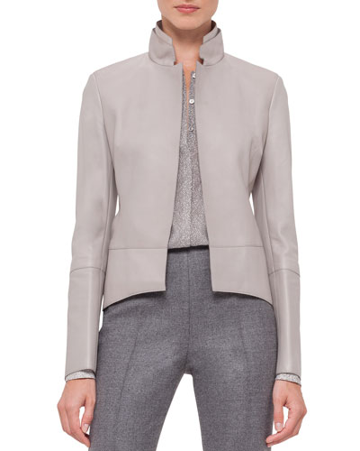 Long-Sleeve Leather Tailcoat Jacket, Gravel