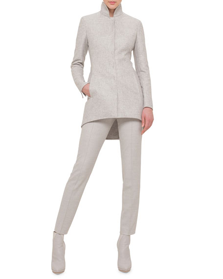 Akris Cashmere-Silk Stand-Collar Tailcoat Jacket