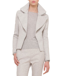 Slim-Fit Cashmere Jacket W/Wide-Zip Detail, Gravel/Off White