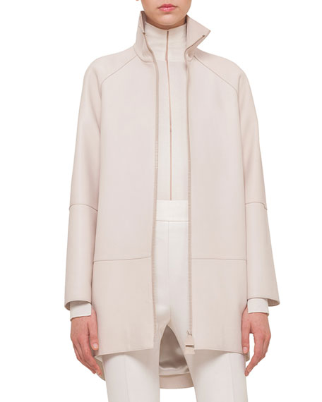 Akris Long-Sleeve Leather Parka Jacket, Beige