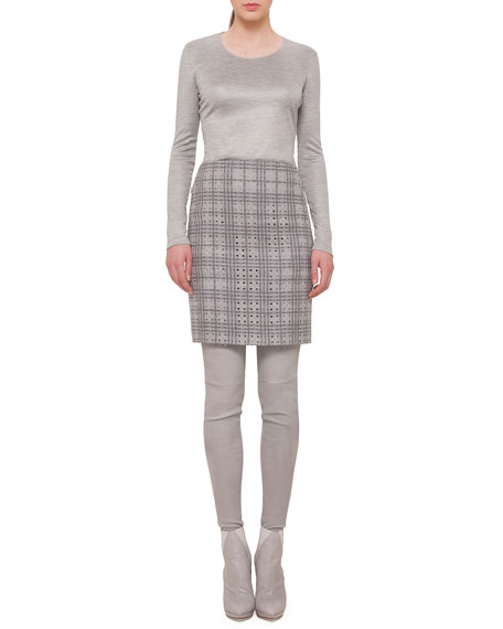 WOOL A-JOUR PENCIL SKIRT, ZI