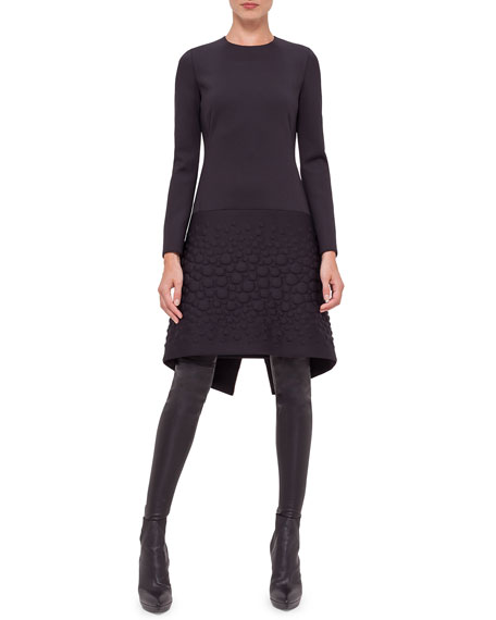 Akris Long-Sleeve Neoprene Apron Dress, Black