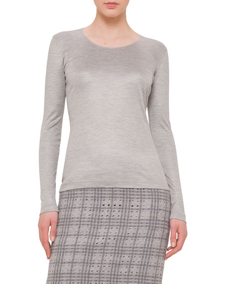 Akris Long-Sleeve Round-Neck Tee, Gravel