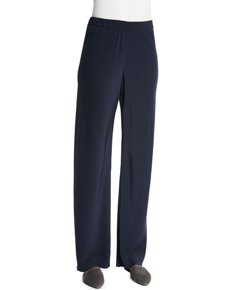 Shamask High-Waist Straight-Leg Pants, Navy