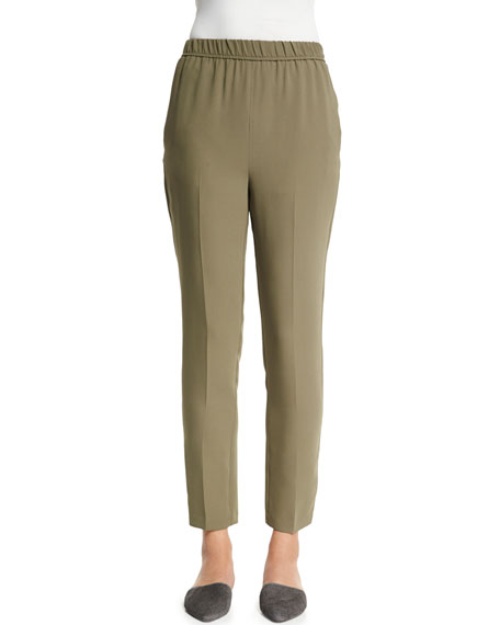 Shamask Slim-Leg Silk Ankle Pants, Army