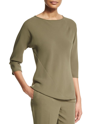 3/4-Sleeve Silk Spiral Top, Army
