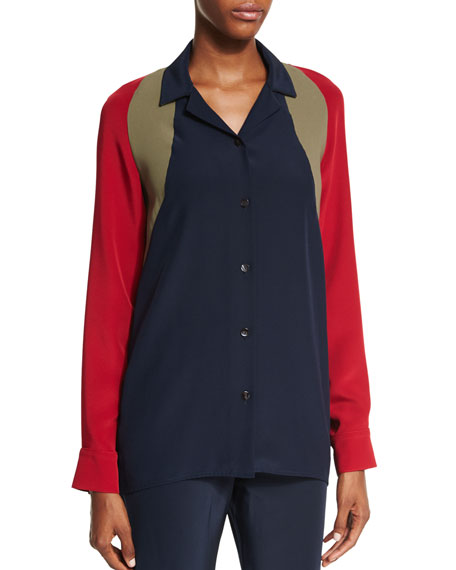 Shamask Colorblock Button-Front Blouse, Army/Red/Navy