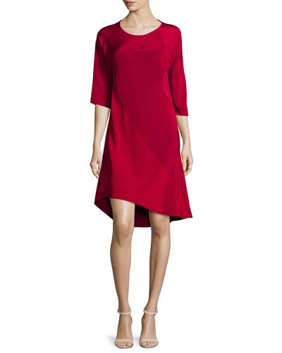 Half-Sleeve Shift Dress, Red