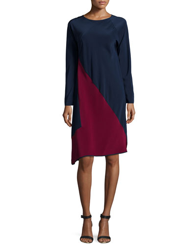 Long-Sleeve Colorblock Shift Dress, Navy