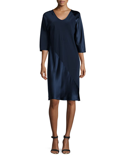 3/4-Sleeve Shift Dress, Navy