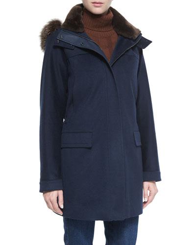 Roger Storm System Fur-Trimmed Cashmere Woven Coat