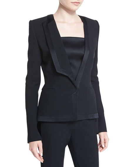 Mugler Satin-Trim Tuxedo Jacket, Black