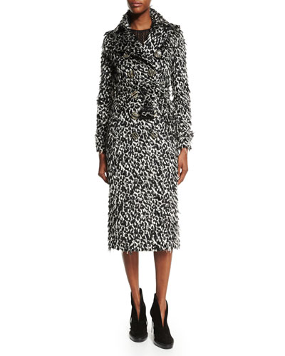 Ocelot Animal-Print Feathered Trench Coat