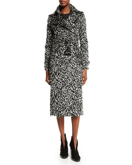 Burberry ProrsumOcelot Animal-Print Feathered Trench Coat