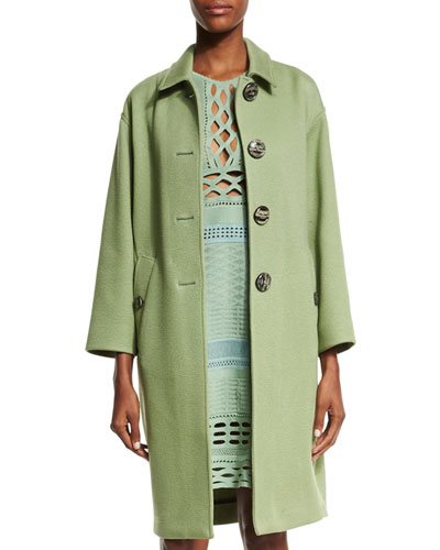 Button-Front Cashmere Caban Coat, Apple Green