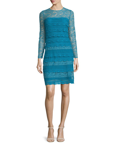 Long-Sleeve Lace Sheath Dress, Light Cornflower Blue
