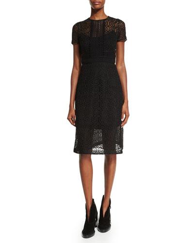 Short-Sleeve Floral-Macrame Dress, Black