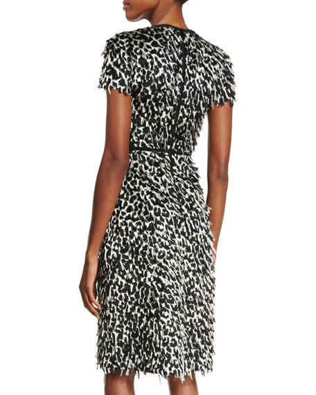 Burberry Ocelot Short-Sleeve Animal-Print Feathered Dress