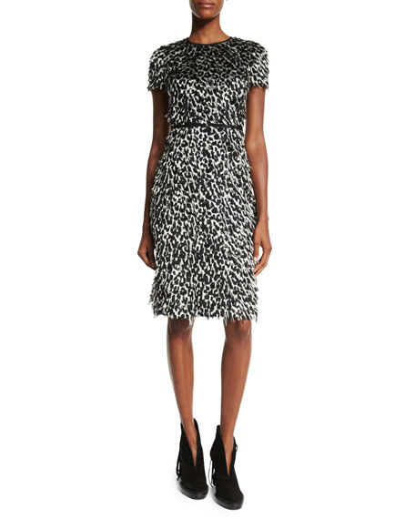 Burberry Brit Ocelot Short-Sleeve Animal-Print Feathered Dress