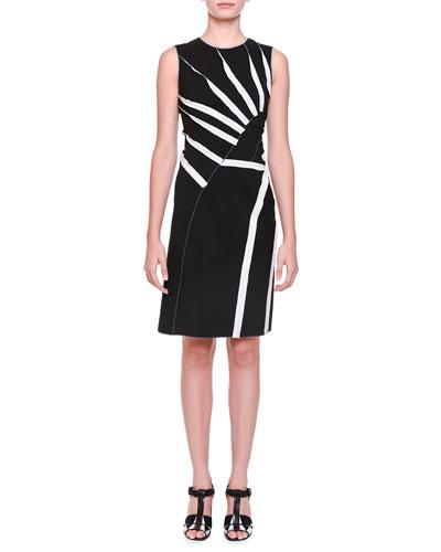 Asymmetric Sunburst-Inset Dress, Black/Mist/Gray