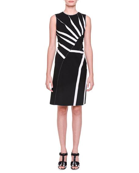 Bottega Veneta Asymmetric Sunburst-Inset Dress, Black/Mist/Gray