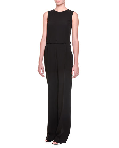 Button-Off Top Pleated Jumpsuit, Black