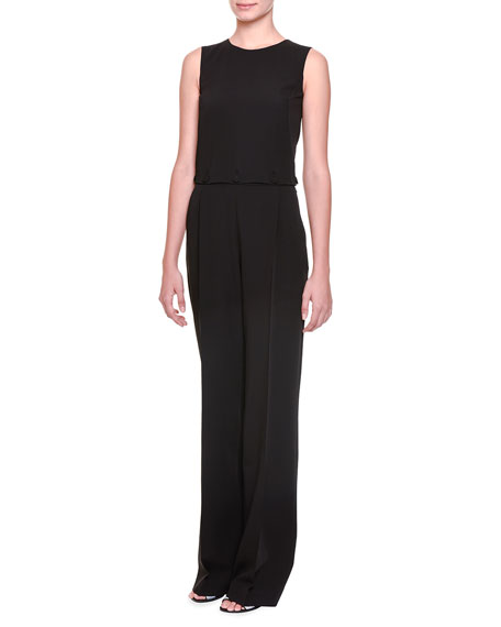 Bottega Veneta Button-Off Top Pleated Jumpsuit, Black