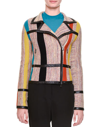 Leather-Trimmed Striped-Inset Jacket, Multi Colors