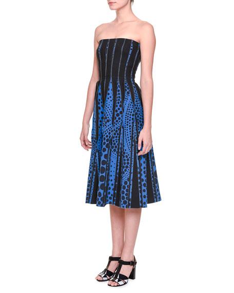 Bottega Veneta Strapless Midi Dress w/ Inverted Seams,