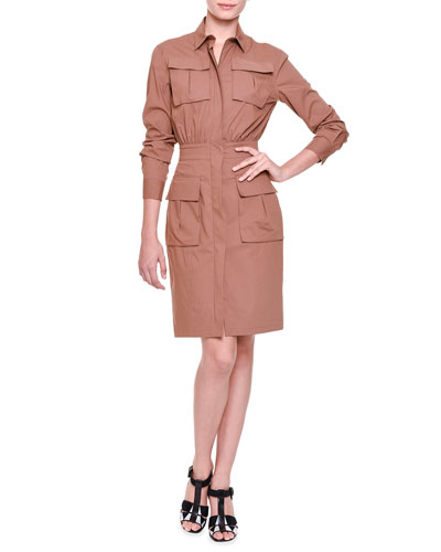 Four-Pocket Zip-Front Shirtdress, Beige