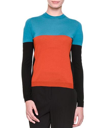 Colorblock Jewel-Neck Knit Sweater, Multi Colors