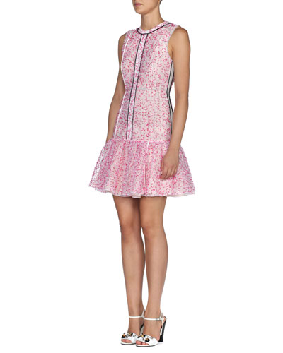 Stardust Flower Lace Flounce Dress, White/Peony Pink