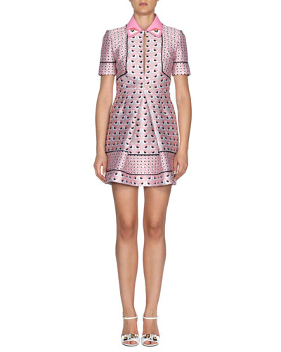 Keyhole Monster Eyes-Print Mini Dress