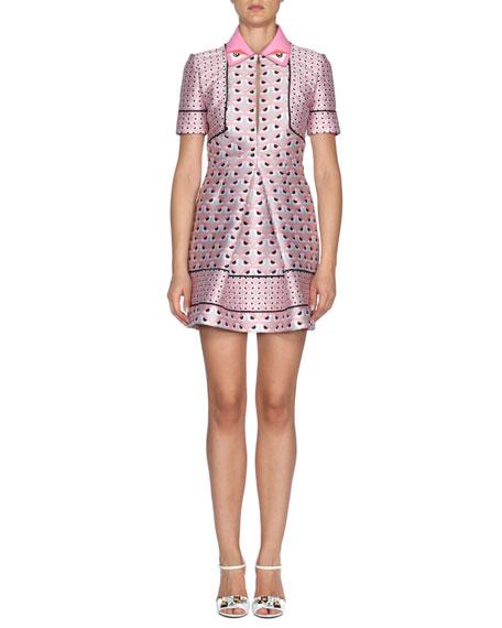 Fendi Keyhole Monster Eyes-Print Mini Dress