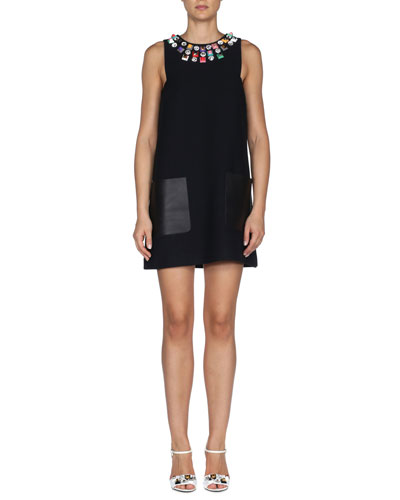 Studded Leather-Pocket Mini Shift Dress, Black