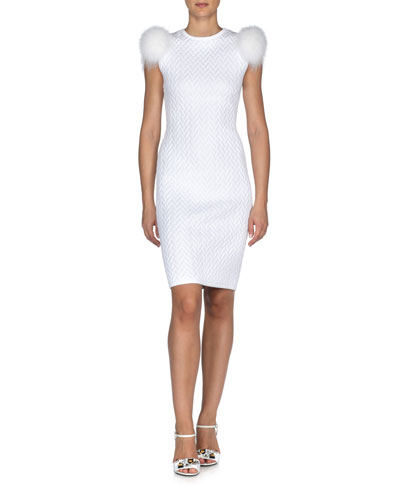 Fox-Fur Sleeve Herringbone Sheath Dress, White