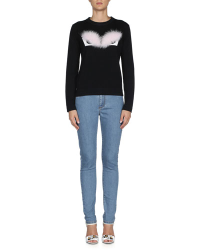 Fox Fur Monster Eyes Sweater, Black