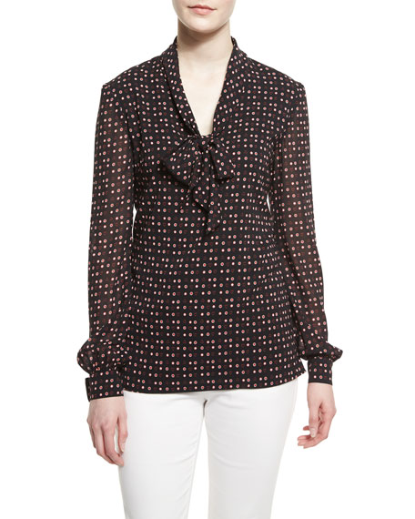 St. John Collection Heart Dot Print Silk Tie-Neck Blouse