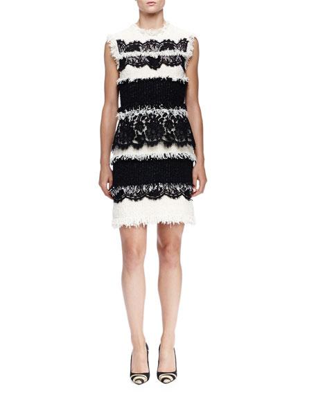 Lanvin Fringe & Lace Paneled Sheath Dress, Ivory