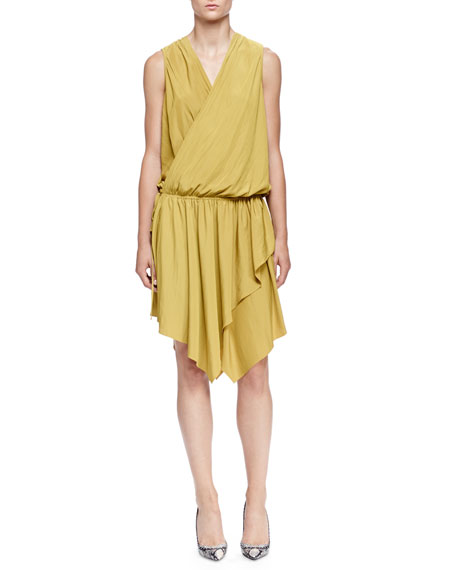 Lanvin Asymmetric Draped Wrap Dress, Absinth Green