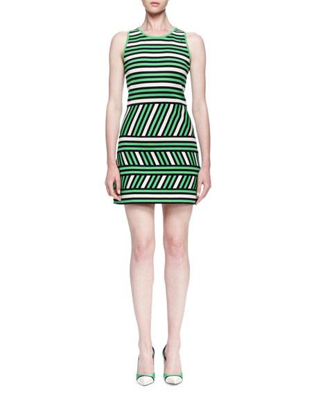 Lanvin Mixed-Stripe Linen-Blend Mini Dress