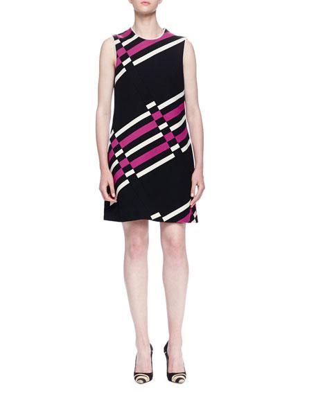 Lanvin Uneven Striped Shift Dress