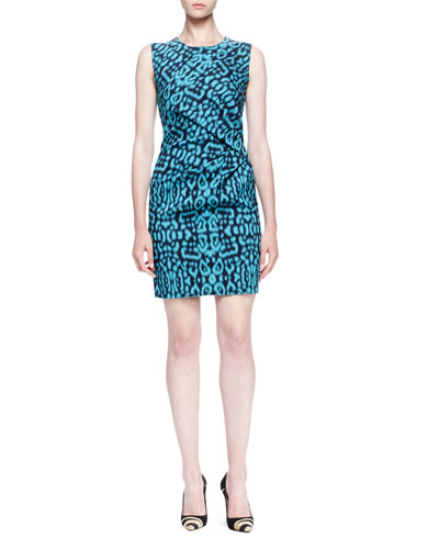Panther-Print Side-Draped Dress
