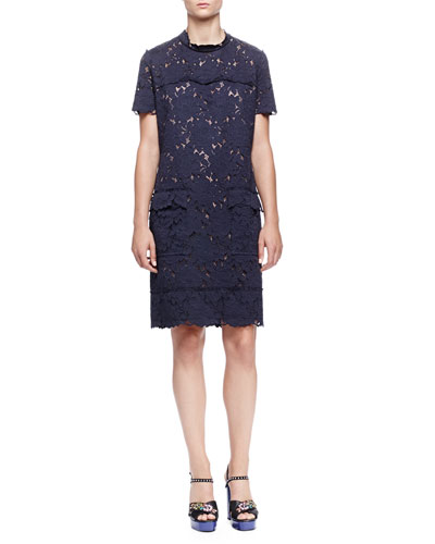 Scallop-Seamed Lace Shirtdress, Navy Blue