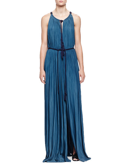 Lanvin Tassel Drawstring-Neck Slit Maxi Dress, Ocean Blue